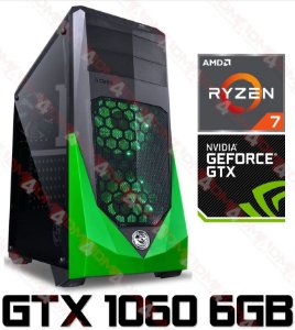 (Compra LOGO) PC Gamer AMD Ryzen 7 1700, 8GB DDR4, HD 1 Tera, GPU Geforce GTX  1060 OC 6GB