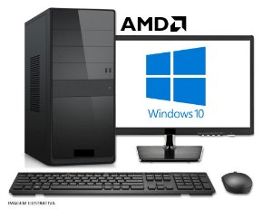 Computador Completo Home Pro AMD ATHLON 200GE, 8GB DDR4, HD 1 Tera, Wi-Fi, Monitor LED 19.5, Teclado e Mouse USB