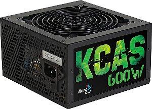 Fonte ATX 600 Watts Potência Real Bivolt Automática AEROCOOL KCAS 600W - 80% PLUS BRONZE