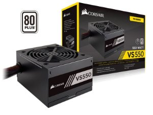 Fonte ATX 550 Watts Reais C/ PFC Ativo Corsair VS550 80% Plus White CP-9020171-WW