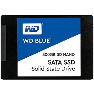 SSD Western Digital Blue 2.5´ 500GB SATA III 6Gb/s Leituras: 560MB/s e Gravações: 530MB/s - WDS500G2B0A