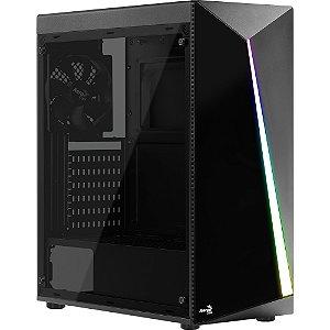 Gabinete ATX Gamer AEROCOOL SHARD RGB C/ Tampa Lateral em Acrílico C/ USB 3.0 Frontal - SHARD A-BK-V1