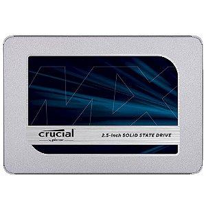SSD Crucial MX500, 500GB, SATA, Leitura 560MB/s, Gravação 510MB/s - CT500MX500SSD1