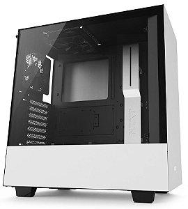 Gabinete ATX Gamer C/ Lateral em Vidro Temperado e USB 3.0 Frontal NZXT H500 MATTE WHITE - CA-H500B-W1