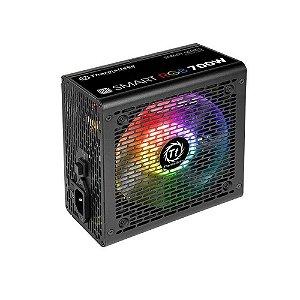 Fonte ATX 700 Watts Reais C/ PFC Ativo Bivolt Automático Thermaltake Smart RGB - 80% Plus SPR-0700NHFAW