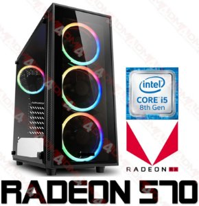(Recomendado) PC Gamer Intel Core I5 Coffee Lake 9400F, 8GB DDR4, SSD 120GB, HD 1 Tera, GPU AMD RADEON RX 570 OC 4GB