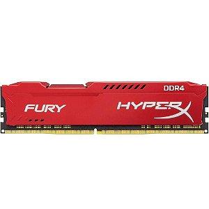 Memória P/ Desktop 8gb DDR3 - 1600 Mhz Kingston HyperX Fury Vermelho HX316C10FR/8 (1X8gb)