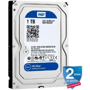 HD Interno P/ Desktop 1 Tera Sata 6Gbs 7200 Rpm 64MB Cache - Western Digital Blue WD10EZEX