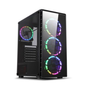 Gabinete ATX GAMER Lateral em Vidro, USB 3.0 Frontal, 3 Coolers RGB - PRYZMAT