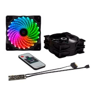 Kit Cooler Fan Gamemax 21 LED com 3 Unidades RGB e Controle Remoto, 12cm - CL300