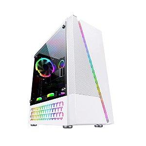 Gabinete Micro ATX Gamer C/ Tampa Lateral em Acrílico, USB 3.0, Frontal RGB - Bluecase BG-018 Branco