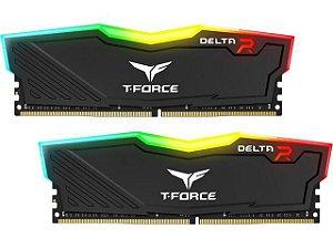 Memória 32GB DDR4 CL16 3000 Mhz TEAM FORCE DELTA RGB BLACK - TF3D432G3000HC16CDC01 (2X16GB)