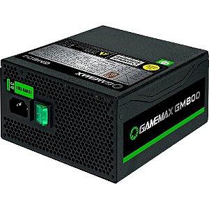 Fonte ATX 800 Watts Potência Real C/ PFC Ativo, Semi Modular,  Bivolt Automático GAMEMAX GM800 Black - 80% Plus Bronze