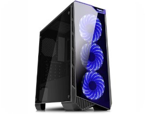 Gabinete ATX GAMER K-MEX VAMP C/ Tampa Lateral em Acrílico, 3 Coolers LED Azul, USB 3.0 Frontal -  CG-04P9