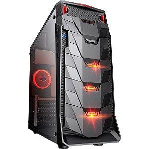 Gabinete Micro ATX Gamer Mymax TAURUS C/ Acrílico Lateral, USB 3.0 Frontal, LED Vermelho - MCA-TAURUS/BK