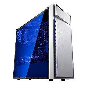 Gabinete Bluecase Gamer BG-015 Branco C/ Tampa Lateral de Acrílico e USB 3.0 Frontal e LED Personalizavel sem Fonte