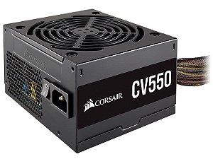 Fonte ATX 550 Watts Reais C/ PFC Ativo Bivolt Automático CORSAIR CV550 - 80% Plus Bronze - CP-9020210-BR