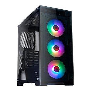 Gabinete ATX Gamer T-DAGGER ZYRA C/ FRENTE E TAMPA LATERAL EM VIDRO, USB 3.0 FRONTAL + 3 COOLERS RGB C/ CONTROLE REMOTO