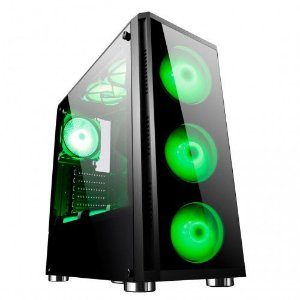 Gabinete ATX Gamer T-DAGGER ZYRA C/ FRENTE E TAMPA LATERAL EM VIDRO, USB 3.0 FRONTAL + 4 COOLERS LED VERDE
