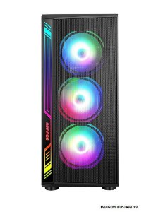 Gabinete ATX Gamer c/ Tampa Lateral em Vidro, USB 3.0 Frontal, 4 Coolers LED RGB - LIKETEC DEX RGB