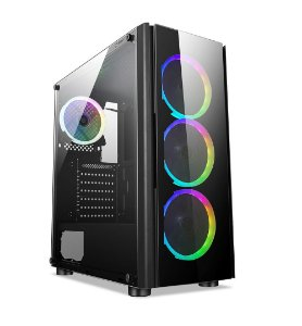 Gabinete ATX Gamer C/ Frente e Tampa Lateral em Vidro, USB 3.0 Frontal, 4 Coolers LED RGB - LIKETEC STREAMER V2
