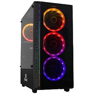 Gabinete ATX Gamer C/ Frente e Tampa Lateral em Vidro, USB 3.0 Frontal, 6 Coolers RGB, REDRAGON GRAPPLE BLACK - GC-607BK
