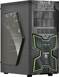 Gabinete ATX Gamer PCYES FOX Verde C/ Acrílico, USB3, Leitor de Cartões