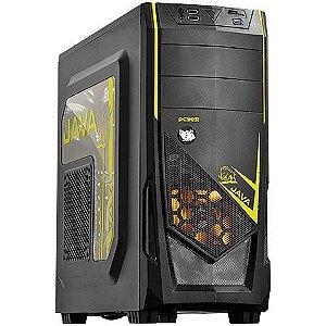 Gabinete ATX Gamer PCYES Java Amarelo C/ Acrílico, USB 3.0, Leitor de cartões