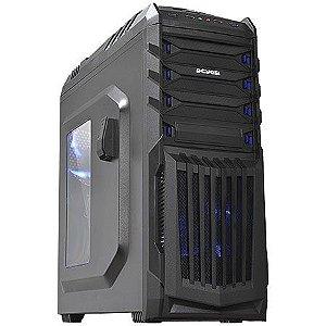 Gabinete ATX Gamer PCYES TIGER Preto C/ Acrílico, USB 3.0 e Suporte para Headset