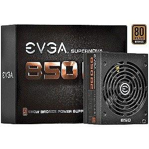 Fonte ATX 850 Watts Reais Modular C/ PFC Atívo EVGA 80% Bronze 110-B2-0850-V0