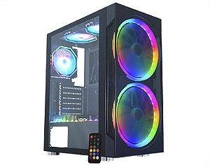 Gabinete ATX Gamer C/ Tampa Lateral em Vidro, USB 3.0 Frontal, 2 Coolers RGB K-MEX Anjo de Combate III - CG-03A1