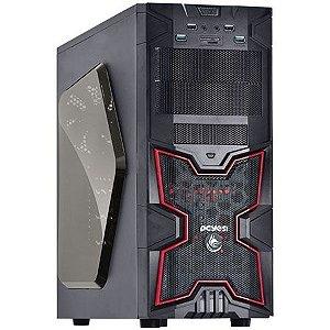Gabinete ATX Gamer PCYES FOX Vermelho C/ Acrílico, USB3, Leitor de Cartões