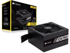 Fonte ATX 750 Watts Potência Real C/ PFC Ativo CORSAIR CX750 CP-9020123 - 80 PLUS Bronze