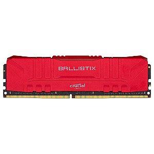 Memória Crucial Ballistix 16GB 2666 Mhz DDR4 CL16 RED - BL16G26C16U4R (1X16GB)