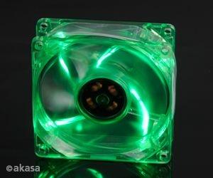Cooler FAN Akasa 8cm com LED Verde AK-170CG-4GNS