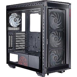 Gabinete ATX Gamer C/ Tampa Lateral em Vidro, USB 3.0 Frontal, ARGB, 4 Coolers - ADATA XPG Battlecruiser Black
