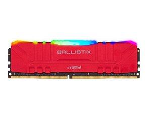 Memória Crucial Ballistix 8GB DDR4 3000 Mhz, CL15, Vermelho/RGB - BL8G30C15U4RL (1X8GB)