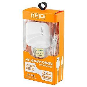 Carregador de Celular Fonte USB 2.4A Kaidi KD-301A