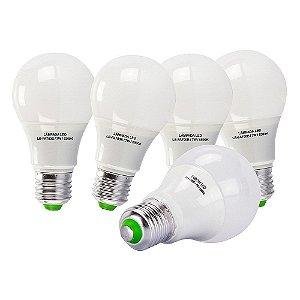 5 Lâmpadas 7W LED Bulbo E27, 6500K, Bivolt - Branco Frio