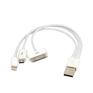 Cabo USB 3x1 - iPhone 5, 6 e Galaxy S5 e S6