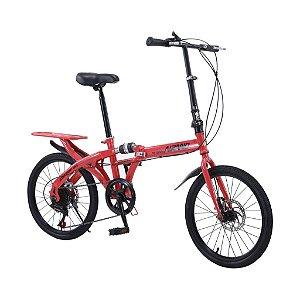 Bicicleta Dobrável Aro 20 Supensão no Quadro Freios a Disco e Passadores Shimano - Mostruário