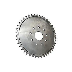 Coroa para Motorizada 44 Dentes Importada em Aço 700g Prata