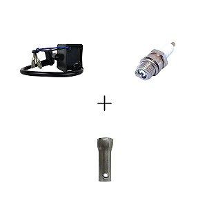 Kit Cdi com Cabo e Cachimbo para Motorizada + Vela de Ignição + Chave de Vela
