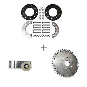 Kit Coroa de 44 Dentes Aço + Esticado da Corrente + Kit Fixação