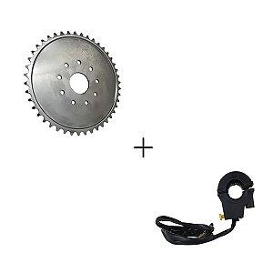 Kit Coroa de 44 Dentes em Aço + Botão Desliga Ignição Motorizada