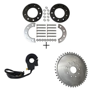 Kit Fixação da Coroa + Coroa de 44 Dentes + Botão Corta Ignição para Motorizada