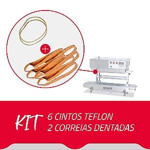 6 Cintos Teflon + 2 Correias Dentadas para Seladora Contínua SF150
