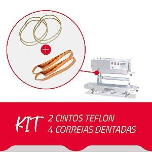 2 Cintos Teflon + 4 Correias Dentadas para Seladora Contínua SF150