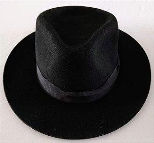 Chapéu Oval Pelo/Lã Preto