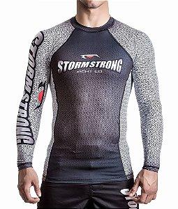 Rash Guard Preta/Branca ML Camiseta Lycra StormStrong